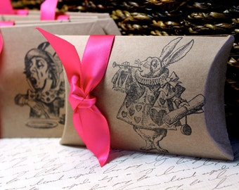 Alice in Wonderland Pillow Boxes  -  Set of 10  - You choose ribbon color