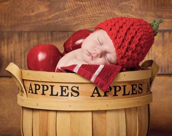 Crocheted Newborn Apple Hat