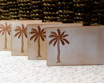 Vintage Inspired Palm Tree Place Cards - Set of 6 - Can be Customized