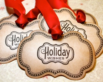 Vintage Inspired Holiday Gift Tags - Holiday Wishes - Set of 5