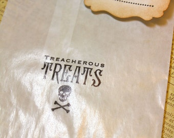 Halloween Glassine Bags & Tags - TREATS - 4 1/2 x 6 3/4