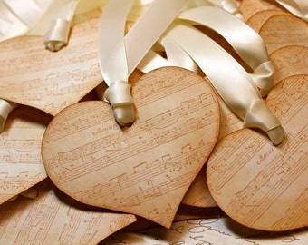 Vintage Inspired Valentine/Love/Wedding Tags - Heart - Sheet Music - Set of 5