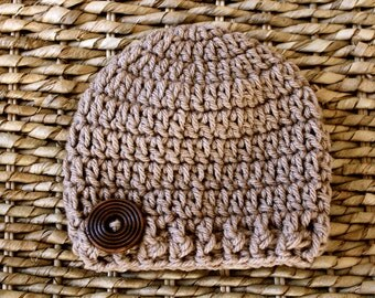 Crocheted Baby Button Hat - Newborn 0-3 Months - Taupe