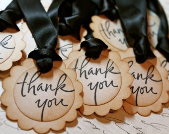 Vintage Inspired Thank You Tags - Set of 10 - You choose ribbon color