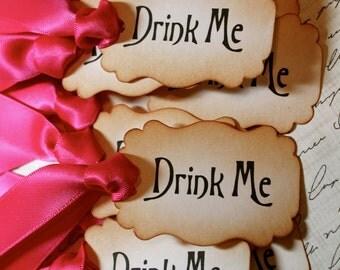 "Vintage Inspired ""Drink Me"" Tags - Set of 10 - You choose ribbon color"