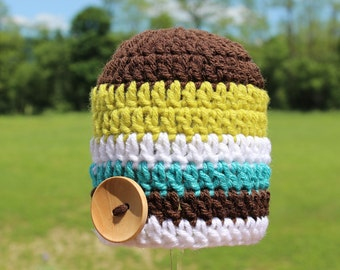 Crocheted Baby Button Hat - 0-3 Months - White/Brown/Turquoise/Lime Green