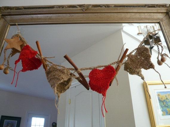 Crocheted Primitive Hearts Garland