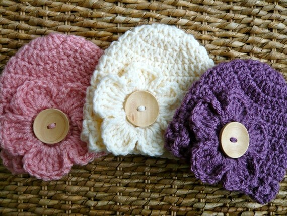 Crocheted Baby Flower Hats - Newborn Girl - Set of 3 Spring Colors - Pink / Purple / Off-White - Interchangeable Flowers