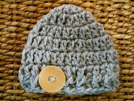 Crocheted Baby Button Hat - Newborn - Chunky Gray - Ready to Ship