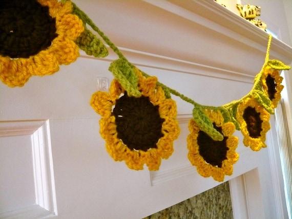 Crocheted Springtime Sunflower Garland