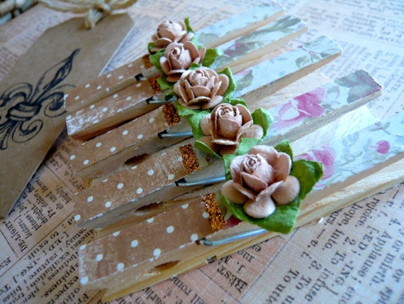 Shabby Chic Designer Pegs - Pink & Brown - Set of 5