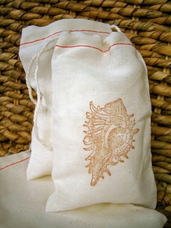 10 Cotton Drawstring Muslin Favor Bags - Seashell