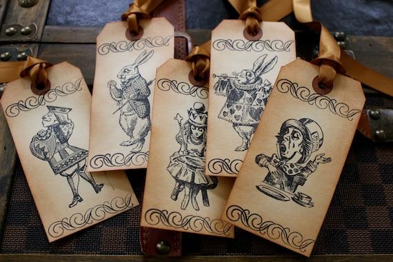 Alice in Wonderland Vintage Inspired Tags - Set of 5 - You choose ribbon color