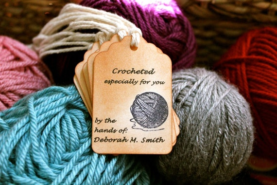 Vintage Inspired Crocheted by / Knitted by Personalized Tags - Set of 10