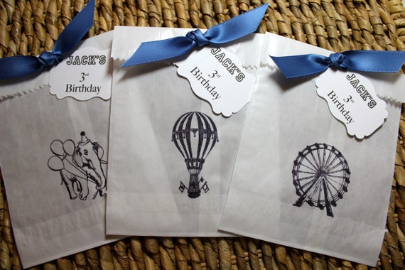 Circus Glassine Favor Bags & Tags - 4 1/2 x 6 3/4 - Personalized - SET OF 5 - You choose ribbon color
