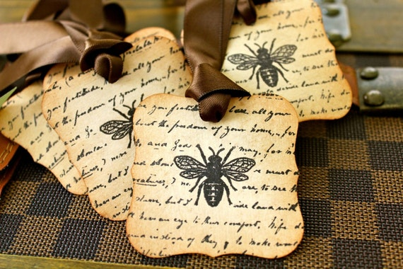 Vintage Inspired Tags - Bee - Set of 5 - You choose ribbon color