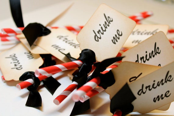 DRINK ME Red & White Barber Pole Party Straws and Tags - Set of 12 - You Choose Ribbon Color