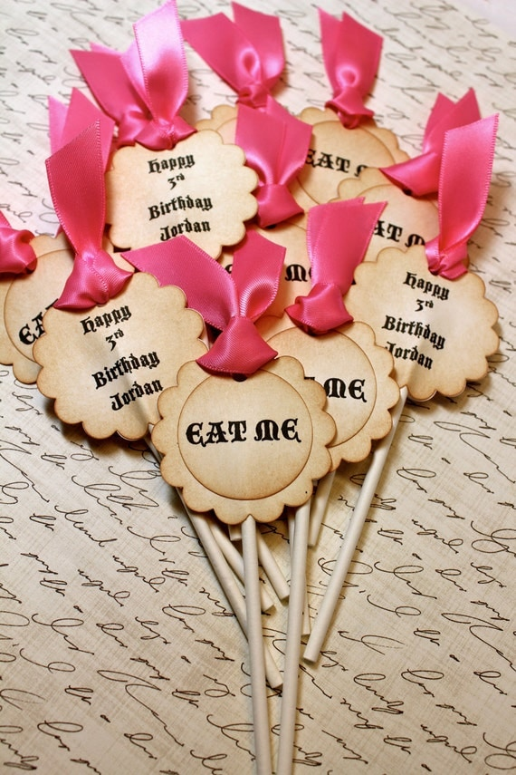 """Vintage Inspired """"Eat Me"""" Cupcake Toppers - Set of 12 - You Choose Ribbon Color"""