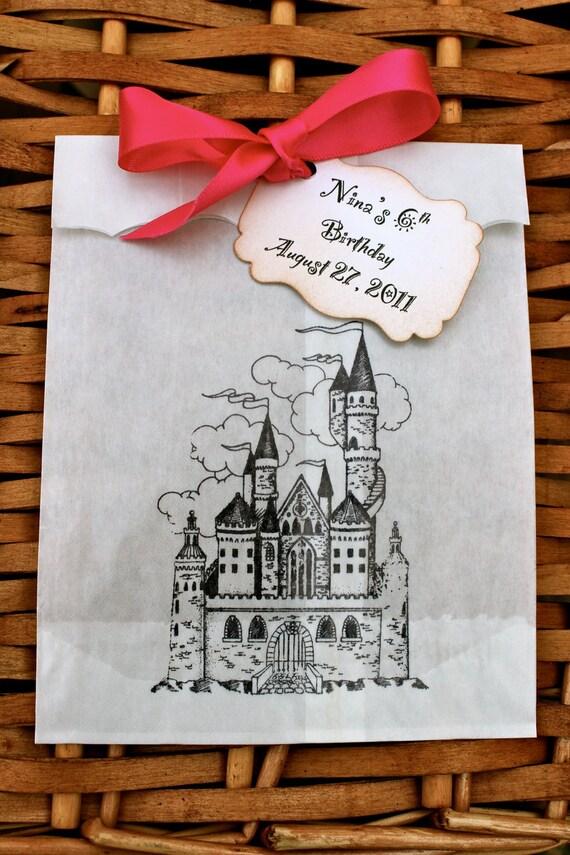 Princess' Castle Glassine Favor Bags & Tags - 4 1/2 x 6 3/4 - Set of 5 - Personalized - You choose ribbon color