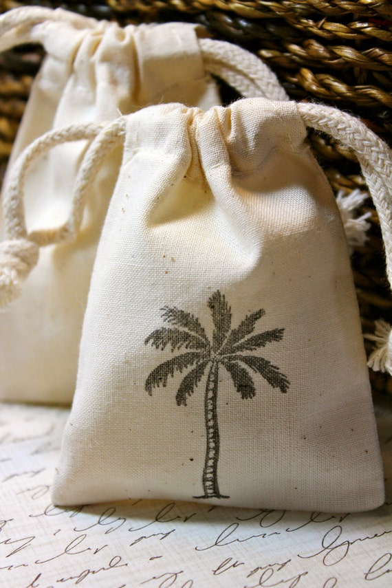 10 Cotton Drawstring Muslin Favor Bags - Palm Tree