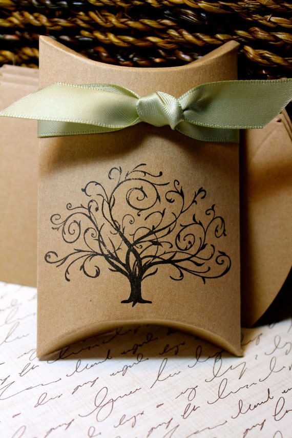 Whimsical Tree Pillow Boxes  -  Set of 10  - You choose ribbon color