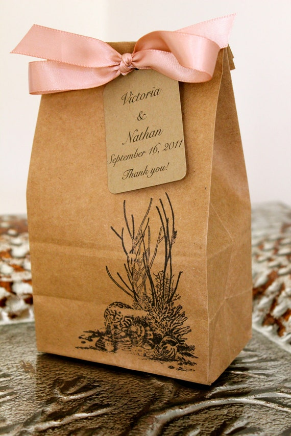 Personalized Kraft Favor Bags with Customized Tags  - Beach Theme - Set of 10 - Two Bag Sizes Available - You Choose Ribbon Color