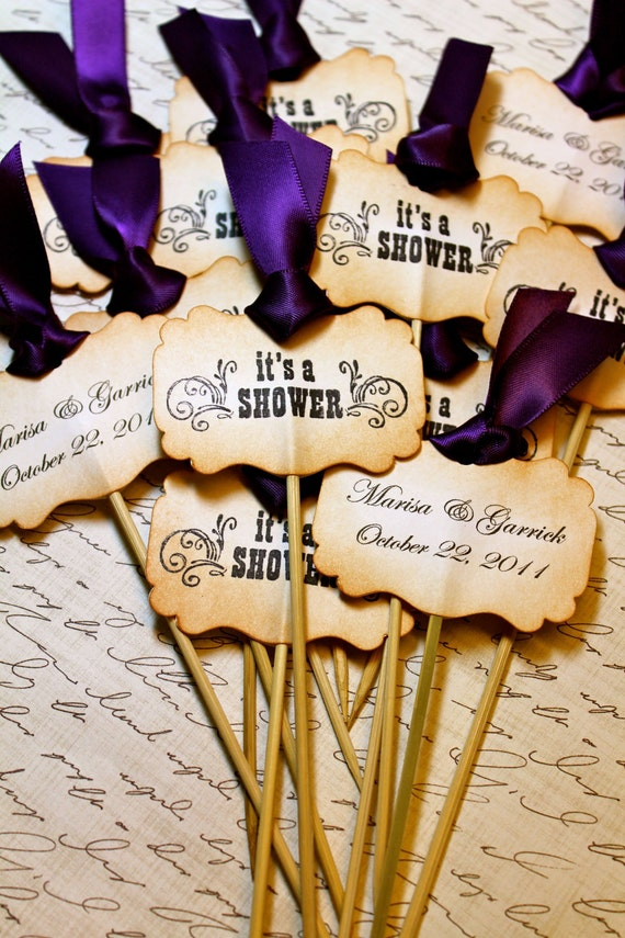 Vintage Inspired Wedding & Bridal Shower Cupcake Toppers - Set of 12 - Personalized - You Choose Ribbon Color
