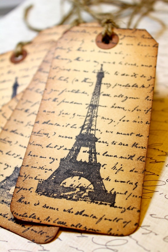Vintage Inspired Tags - Letter From Paris - Set of 5
