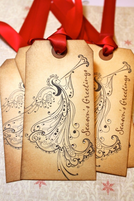 Vintage Inspired Holiday Tags - Angel - Set of 5