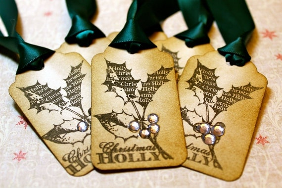 Vintage Inspired Holiday Gift Tags - Holly - Set of 6