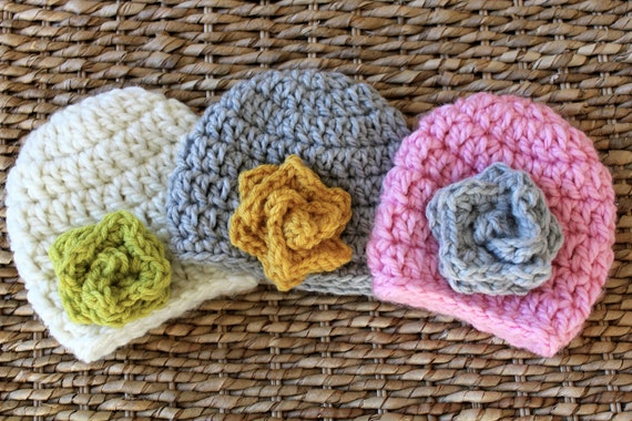 Crocheted CHUNKY Baby Flower Hats - Newborn Girl - Set of 3 -  Also sold separately