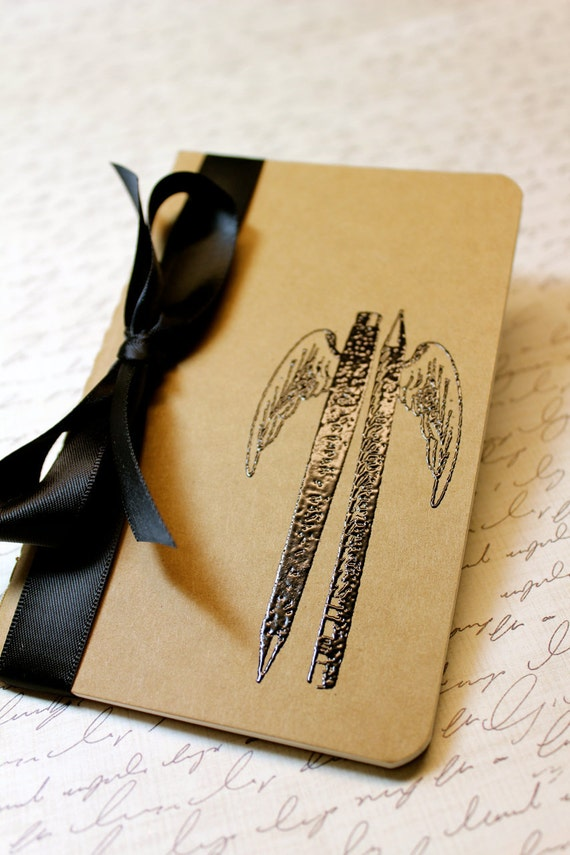 Embossed Moleskine Journal / Notebook / Cashier - Pen and Pencil with Wings