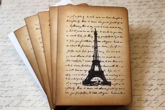 Set of 5 Vintage Inspired Blank Note Cards - Letter From Paris