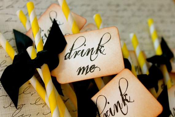 DRINK ME - Yellow & White Swizzle Straws and Tags - Set of 12 - You Choose Ribbon Color