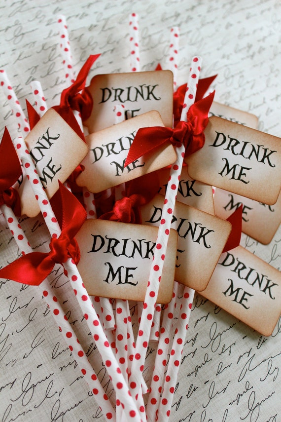 DRINK ME - Red Polka Dot  Swizzle Straws and Tags - Set of 12 - You Choose Ribbon Color