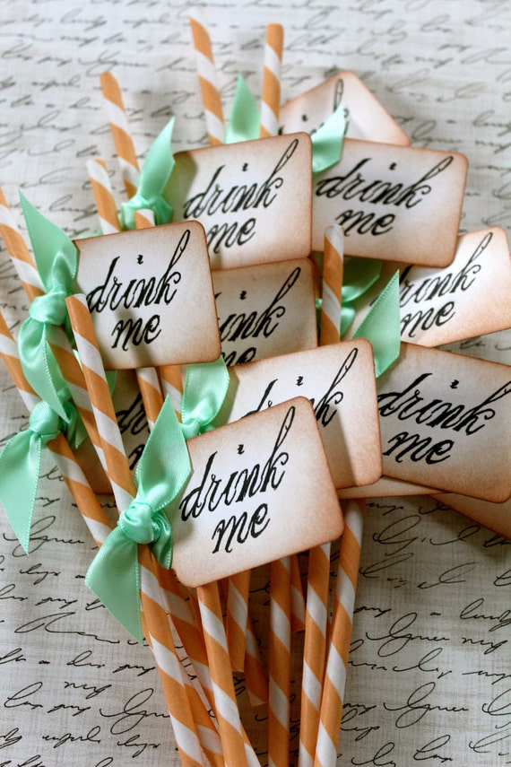 DRINK ME - Peach & White Swizzle Straws and Tags - Set of 12 - You Choose Ribbon Color