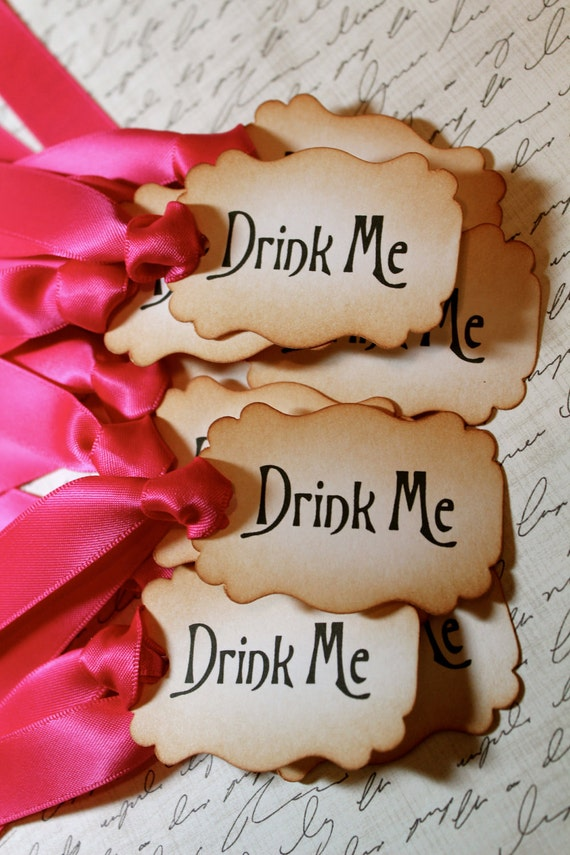 """RESERVED FOR HOLLY - Vintage Inspired """"Drink Me"""" Tags"""