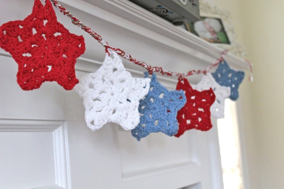 Red White & Blue Granny Stars Garland -  - Ready to ship