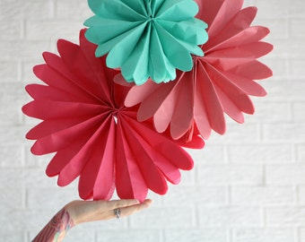 Party decorations - 4 pomwheels ... pick your colors // wedding decor pinwheels // candy buffet // sweetheart table // coral pink