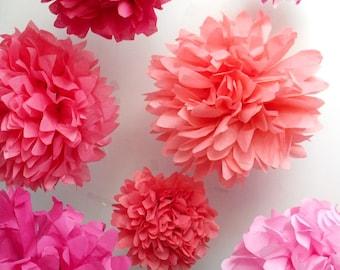 Paper flowers ... pink ladybug ... 7 poms