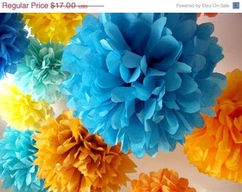 Wedding paper poms ... 5 Poms .... Pick Your Colors