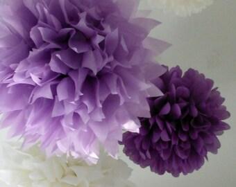 Pompoms paper poms ...  10 Poms ... Pick Your Colors - Budget Diy Craft Kit