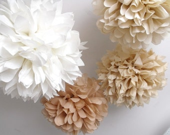 Wedding Decor . Ceremony decorations. 10 pompoms ..  diy kit . wedding reception decor . rustic barn wedding . destination  . bridal shower