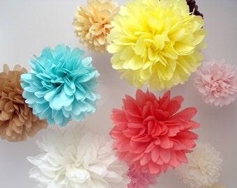Paper pom poms ... 10 Poms ... Pick Your Colors