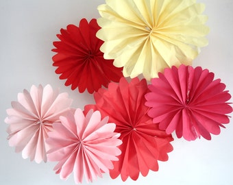 party decor ... 6 pomwheels ... pick your colors // birthday decorations // pinwheels // valentines day decoration // coral pink blush