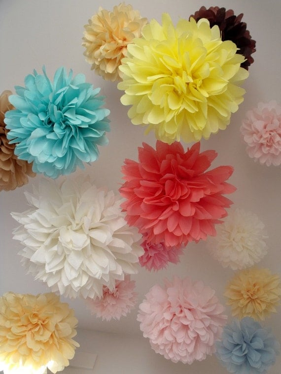 tissue paper pom poms ... 20 Poms ... Pick Your Colors