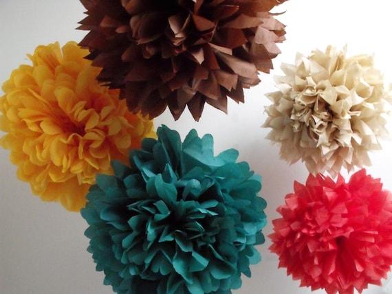 Fall Wedding Decorations 5 Pompom Flowers DIY Kit