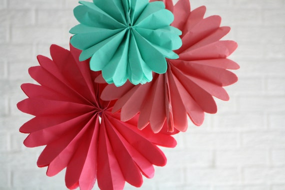 Party decorations - 3 pomwheels ... pick your colors // valentines day decor // photobooth backdrop // pinwheel medallions