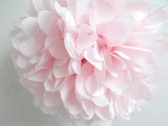 Tissue pom ... Blush . pale pink . wedding decorations . birthday parties . bridal shower decor . gender reveal . baby girl shower
