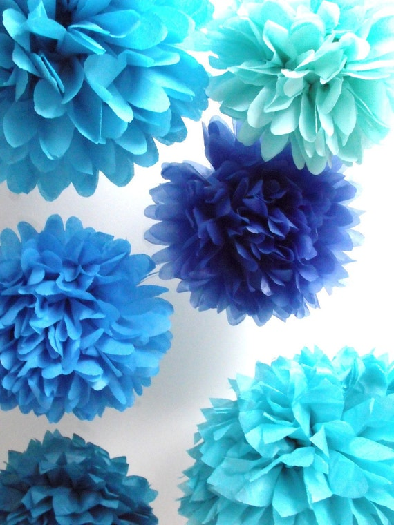 Tissue poms ... 10 Poms ... Pick Your Colors - Budget DIY Craft Kit